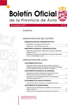 Boletín Oficial de la Provincia del miércoles, 2 de octubre de 2013