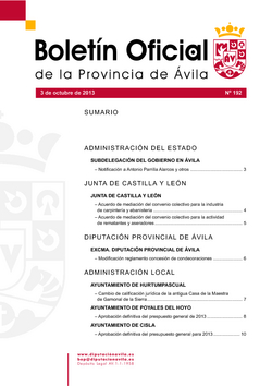 Boletín Oficial de la Provincia del jueves, 3 de octubre de 2013