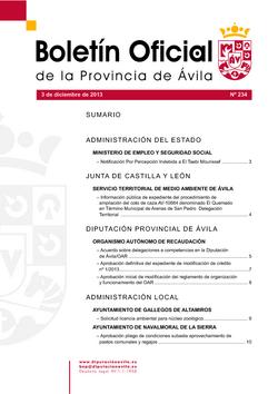 Boletín Oficial de la Provincia del martes, 3 de diciembre de 2013