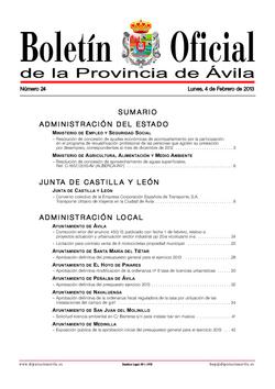 Boletín Oficial de la Provincia del lunes, 4 de febrero de 2013