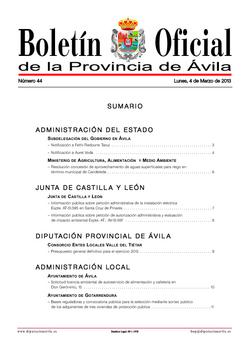 Boletín Oficial de la Provincia del lunes, 4 de marzo de 2013