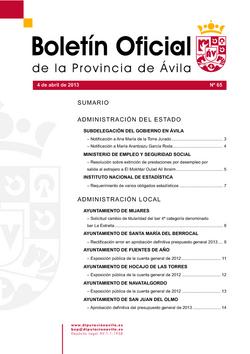 Boletín Oficial de la Provincia del jueves, 4 de abril de 2013