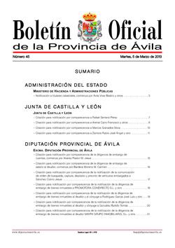 Boletín Oficial de la Provincia del martes, 5 de marzo de 2013