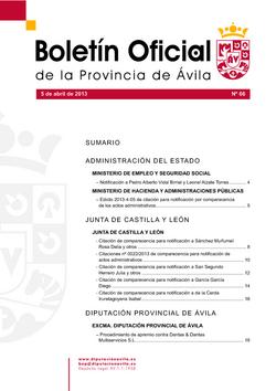Boletín Oficial de la Provincia del viernes, 5 de abril de 2013