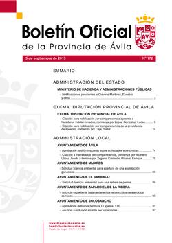 Boletín Oficial de la Provincia del jueves, 5 de septiembre de 2013