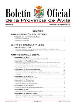 Boletín Oficial de la Provincia del miércoles, 6 de febrero de 2013
