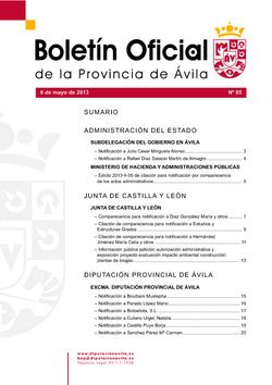 Boletín Oficial de la Provincia del lunes, 6 de mayo de 2013