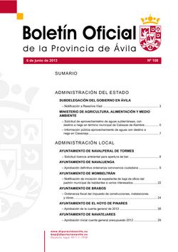 Boletín Oficial de la Provincia del jueves, 6 de junio de 2013