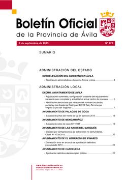 Boletín Oficial de la Provincia del viernes, 6 de septiembre de 2013