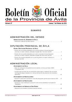 Boletín Oficial de la Provincia del jueves, 7 de febrero de 2013
