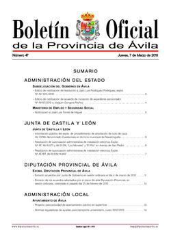 Boletín Oficial de la Provincia del jueves, 7 de marzo de 2013