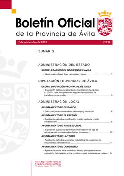 Boletín Oficial de la Provincia del jueves, 7 de noviembre de 2013