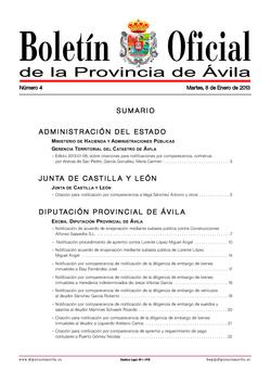 Boletín Oficial de la Provincia del martes, 8 de enero de 2013