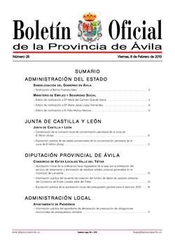 Boletín Oficial de la Provincia del viernes, 8 de febrero de 2013