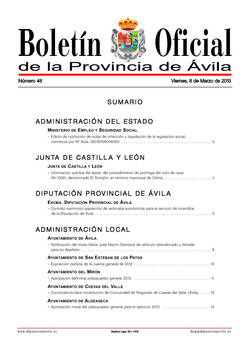 Boletín Oficial de la Provincia del viernes, 8 de marzo de 2013