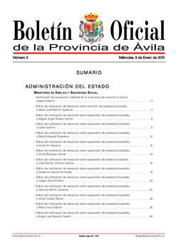 Boletín Oficial de la Provincia del miércoles, 9 de enero de 2013