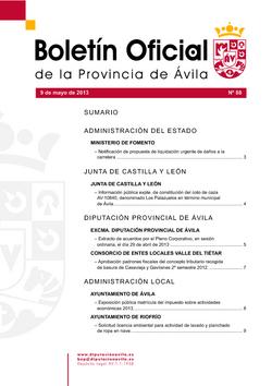 Boletín Oficial de la Provincia del jueves, 9 de mayo de 2013
