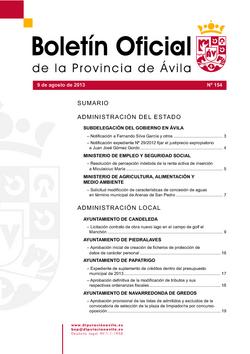 Boletín Oficial de la Provincia del viernes, 9 de agosto de 2013