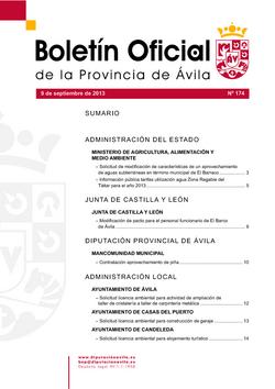 Boletín Oficial de la Provincia del lunes, 9 de septiembre de 2013