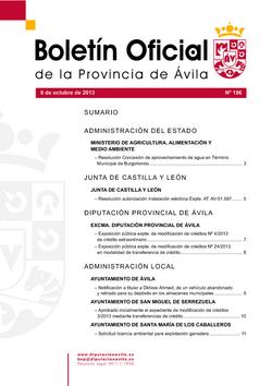 Boletín Oficial de la Provincia del miércoles, 9 de octubre de 2013