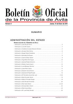 Boletín Oficial de la Provincia del jueves, 10 de enero de 2013