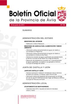 Boletín Oficial de la Provincia del lunes, 10 de junio de 2013