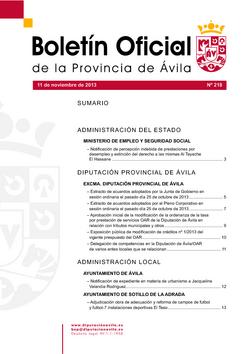 Boletín Oficial de la Provincia del lunes, 11 de noviembre de 2013