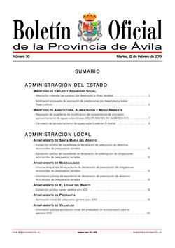 Boletín Oficial de la Provincia del martes, 12 de febrero de 2013