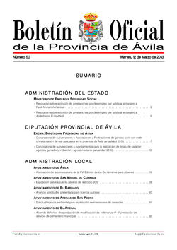 Boletín Oficial de la Provincia del martes, 12 de marzo de 2013