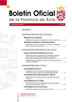 Boletín Oficial de la Provincia del viernes, 12 de julio de 2013