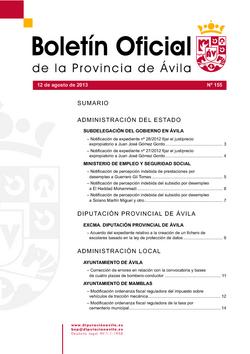Boletín Oficial de la Provincia del lunes, 12 de agosto de 2013