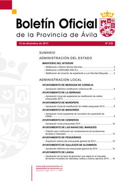Boletín Oficial de la Provincia del jueves, 12 de diciembre de 2013