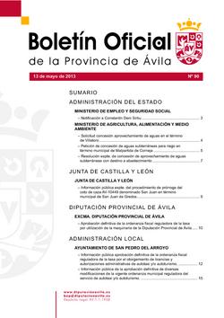 Boletín Oficial de la Provincia del lunes, 13 de mayo de 2013