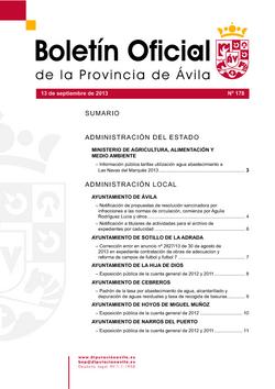 Boletín Oficial de la Provincia del viernes, 13 de septiembre de 2013