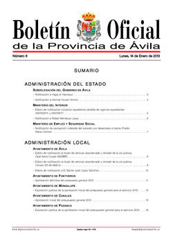 Boletín Oficial de la Provincia del lunes, 14 de enero de 2013