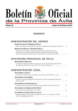 Boletín Oficial de la Provincia del jueves, 14 de febrero de 2013
