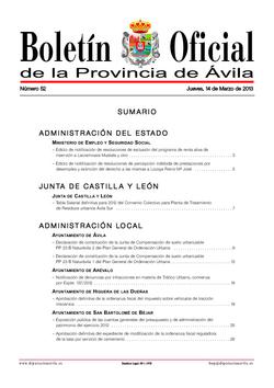 Boletín Oficial de la Provincia del jueves, 14 de marzo de 2013