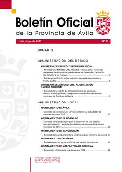 Boletín Oficial de la Provincia del martes, 14 de mayo de 2013