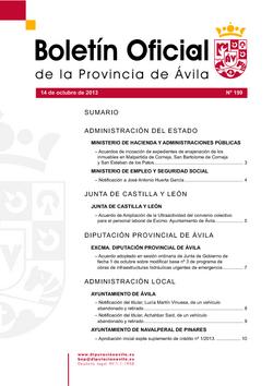 Boletín Oficial de la Provincia del lunes, 14 de octubre de 2013