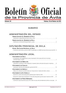 Boletín Oficial de la Provincia del viernes, 15 de febrero de 2013