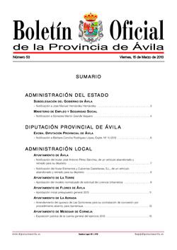 Boletín Oficial de la Provincia del viernes, 15 de marzo de 2013