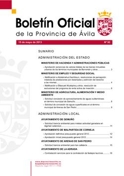 Boletín Oficial de la Provincia del miércoles, 15 de mayo de 2013