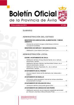 Boletín Oficial de la Provincia del martes, 15 de octubre de 2013