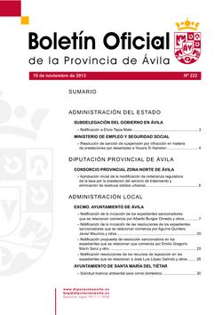 Boletín Oficial de la Provincia del viernes, 15 de noviembre de 2013