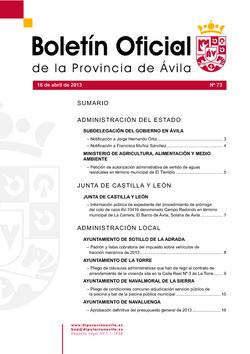 Boletín Oficial de la Provincia del martes, 16 de abril de 2013