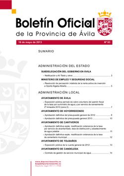 Boletín Oficial de la Provincia del jueves, 16 de mayo de 2013