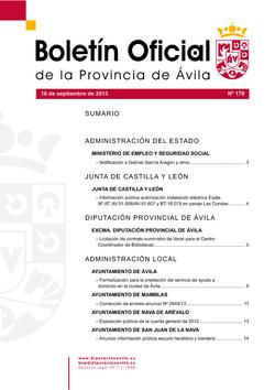 Boletín Oficial de la Provincia del lunes, 16 de septiembre de 2013