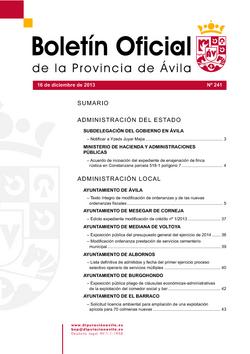 Boletín Oficial de la Provincia del lunes, 16 de diciembre de 2013