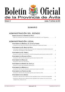 Boletín Oficial de la Provincia del jueves, 17 de enero de 2013