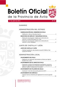 Boletín Oficial de la Provincia del miércoles, 17 de abril de 2013